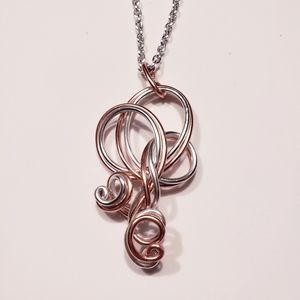 Hand Designed Pink/Silver Wire Wrap Pendant